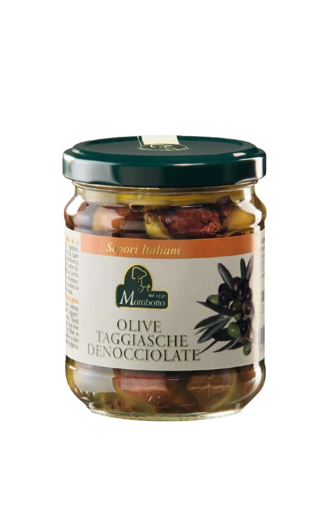 """Pitted olives from Liguria """"Taggiasche"""" in olive oil"""